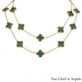 Van Cleef & Arpels Yellow Gold Malachite Vintage Alhambra Necklace VCARL88100